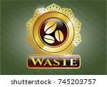 gold emblem or badge with... | Shutterstock .eps vector #745203757