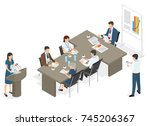 business people sit at table... | Shutterstock . vector #745206367