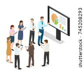 managers with folders standing... | Shutterstock . vector #745208293
