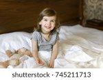 active adorable child awake ... | Shutterstock . vector #745211713