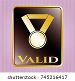 gold badge or emblem with... | Shutterstock .eps vector #745216417