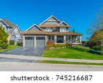 big custom made luxury house... | Shutterstock . vector #745216687