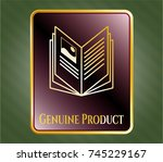 gold shiny emblem with book... | Shutterstock .eps vector #745229167