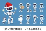 funny robot set of icons with... | Shutterstock .eps vector #745235653