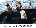 serious female entrepreneur... | Shutterstock . vector #745252063