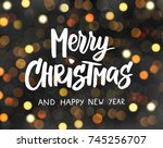 merry christmas and happy new... | Shutterstock .eps vector #745256707
