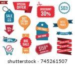 sale banners set  discount... | Shutterstock .eps vector #745261507