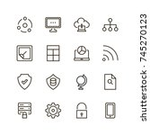 databse icon set. collection of ... | Shutterstock .eps vector #745270123