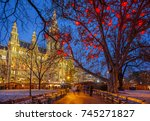vienna town hall decorated for... | Shutterstock . vector #745271827