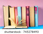 open book  hardback books on... | Shutterstock . vector #745278493