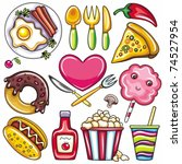 set of ready to eat food icons... | Shutterstock .eps vector #74527954
