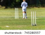 cricket junior bowler wickets... | Shutterstock . vector #745280557