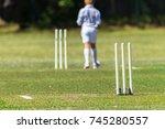 cricket junior bowler wickets... | Shutterstock . vector #745280557