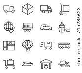 thin line icon set   truck  box ... | Shutterstock .eps vector #745286623