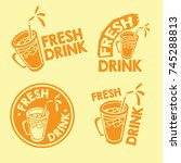 fresh drink logo set and mascot ... | Shutterstock .eps vector #745288813