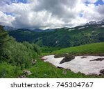 mountains in north caucasus ... | Shutterstock . vector #745304767