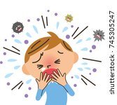 girl who coughs | Shutterstock .eps vector #745305247