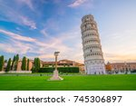 the leaning tower in a sunny... | Shutterstock . vector #745306897