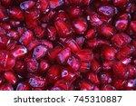 pomegranate seeds. | Shutterstock . vector #745310887