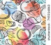 mandarin sketch seamless... | Shutterstock .eps vector #745316863