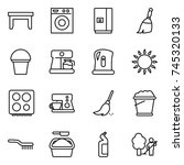 thin line icon set   table ... | Shutterstock .eps vector #745320133