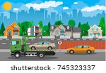 tow truck takes car. parking is ... | Shutterstock . vector #745323337