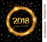 happy new year 2018. abstract... | Shutterstock .eps vector #745332793