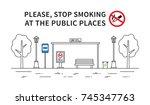 bus stop no smoking vector...   Shutterstock .eps vector #745347763