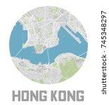 minimalistic hong kong city map ... | Shutterstock .eps vector #745348297