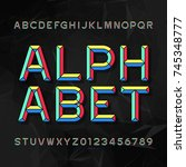 colorful chisel alphabet vector ... | Shutterstock .eps vector #745348777