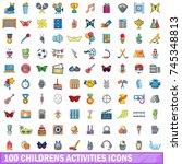 100 childrens activities icons... | Shutterstock .eps vector #745348813