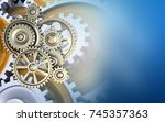 3d illustration of gears over... | Shutterstock . vector #745357363