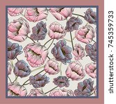 delicate colors of silk scarf... | Shutterstock .eps vector #745359733