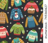 cute seamless pattern with ugly ... | Shutterstock .eps vector #745360627