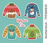 cute set of ugly christmas... | Shutterstock .eps vector #745360633