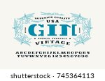 stencil plate serif font and... | Shutterstock .eps vector #745364113