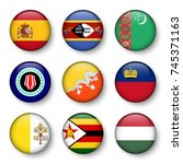 set of world flags round badges ... | Shutterstock .eps vector #745371163