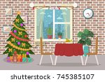 christmas dining room interior. ... | Shutterstock .eps vector #745385107