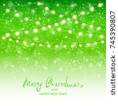 holiday decorations on green... | Shutterstock .eps vector #745390807