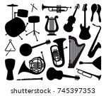 silhouettes of various musical... | Shutterstock .eps vector #745397353