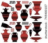 amphoras with an antique greek... | Shutterstock .eps vector #745400107