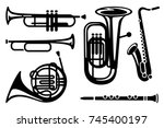 set of simple symbols on a... | Shutterstock .eps vector #745400197