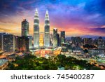 kuala lumpur city skyline at... | Shutterstock . vector #745400287