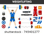 weightlifting sport gym... | Shutterstock .eps vector #745401277