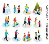 isometric people on winter... | Shutterstock .eps vector #745402897