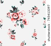 vintage traditional pink rose... | Shutterstock .eps vector #745413397