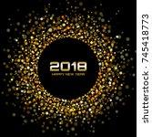 vector happy new year 2018 card ...   Shutterstock .eps vector #745418773