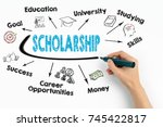 scholarship concept. chart with ... | Shutterstock . vector #745422817