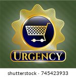 shiny badge with shopping cart ... | Shutterstock .eps vector #745423933