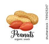 vector peanuts in cartoon style ... | Shutterstock .eps vector #745425247